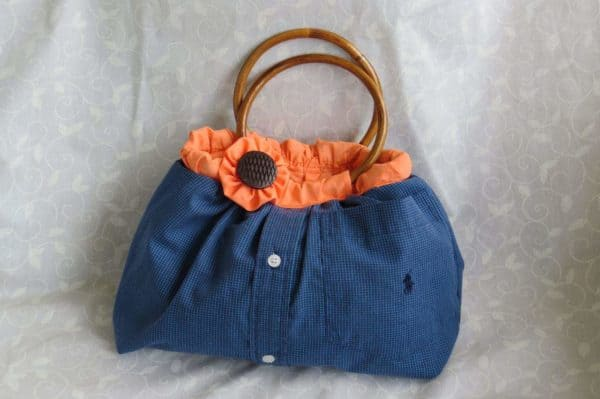 Upcycled Men's shirt Into Cute Handbag Accessories Clothing