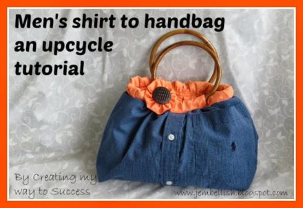 Upcycled Men's shirt Into Cute Handbag