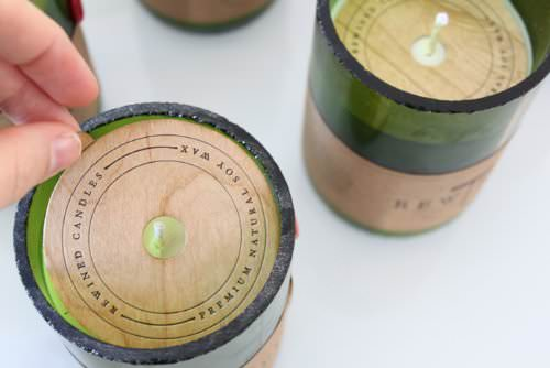 Recycled Wine Bottle Soy Wax Candle - Champagne • Recyclart Shop