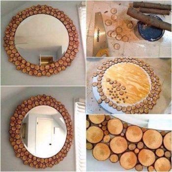 DIY: Wooden Log Mirror Decoration