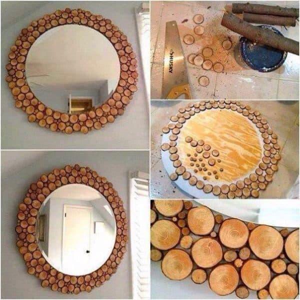 DIY: Wooden Log Mirror Decoration Do-It-Yourself Ideas Wood & Organic