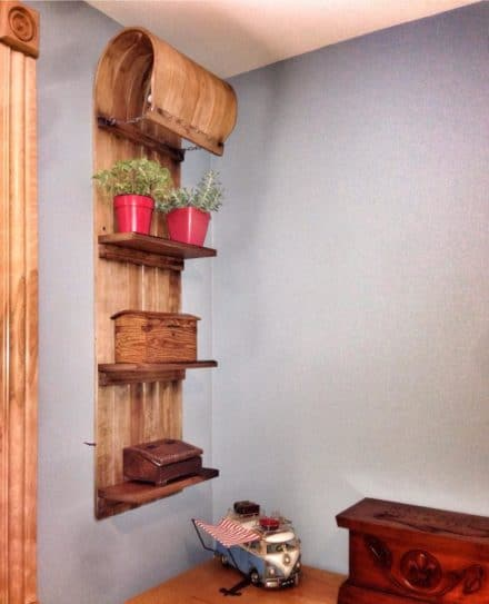 Old Wooden Sledge Upcycled Into Rustic Shelf