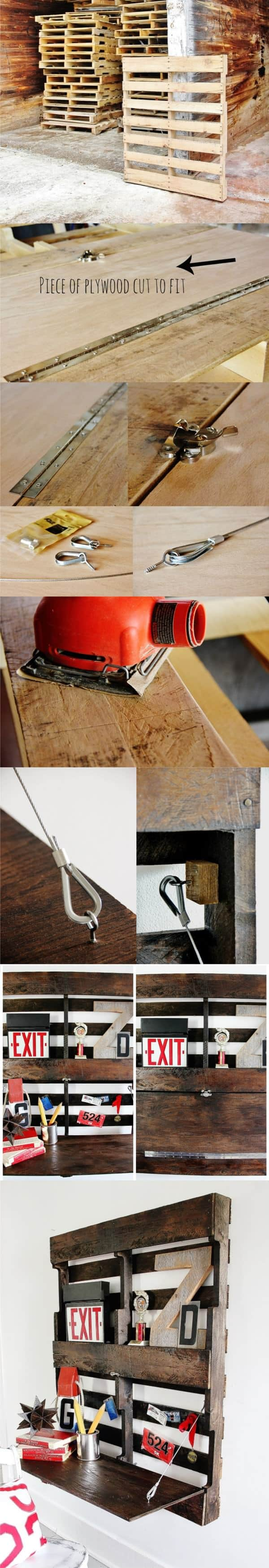 Diy: Fold-up Pallet Desk Do-It-Yourself Ideas Recycled Pallets