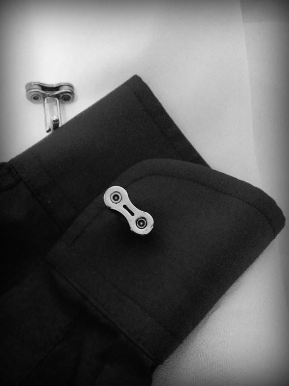 Upcycled Custom Bike Chain Cufflinks Accessories Bike & Friends