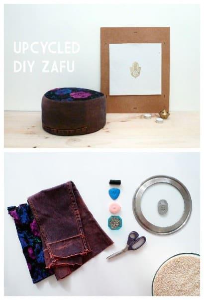 Upcycled Zafu o Meditation Pillow