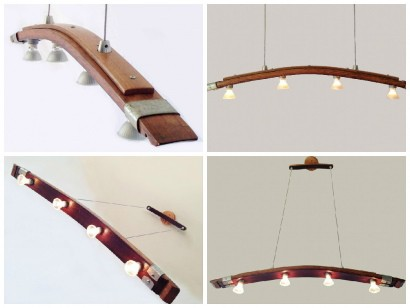 Saba, Recycled Wine Barrel Stave Kitchen Island Light