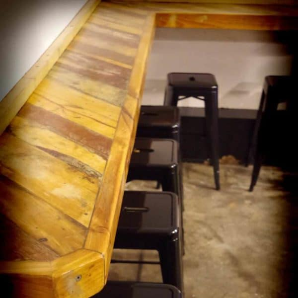 Breakfast Bar Made With Pallets And Timber From Demolition Site Recycled Furniture