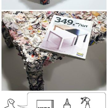Table Made From Recycled IKEA Catalogue