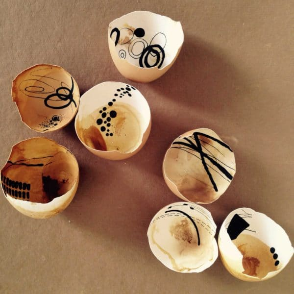 Painted Egg Shell Shards Recycled Art