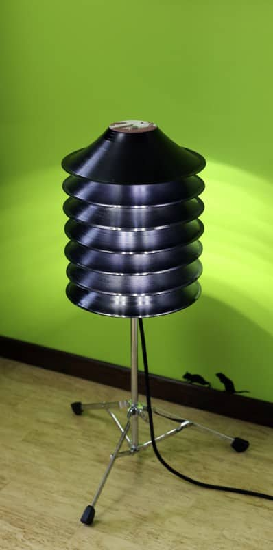 Floor Lamp From Upcycled Vinyl Records And Drum Stand Lamps & Lights Recycled Vinyl