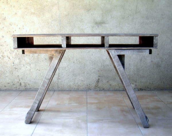 Table basse et haute 2by1 en bois de palettes modular - Table basse bois et verre dessus ...