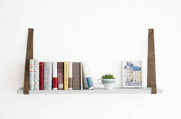 Wall Shelf Made With A Belt And An Old Ikea Shelving Board Do-It-Yourself Ideas