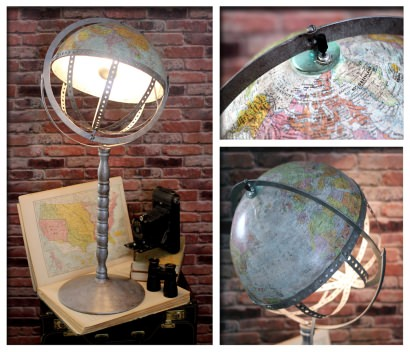 Vintage Steam Punk Industrial Re-purposed World Globe Swivel Desk / Floor Lamp