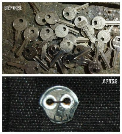 How To Recycle An Old Key In A Skull Button ?