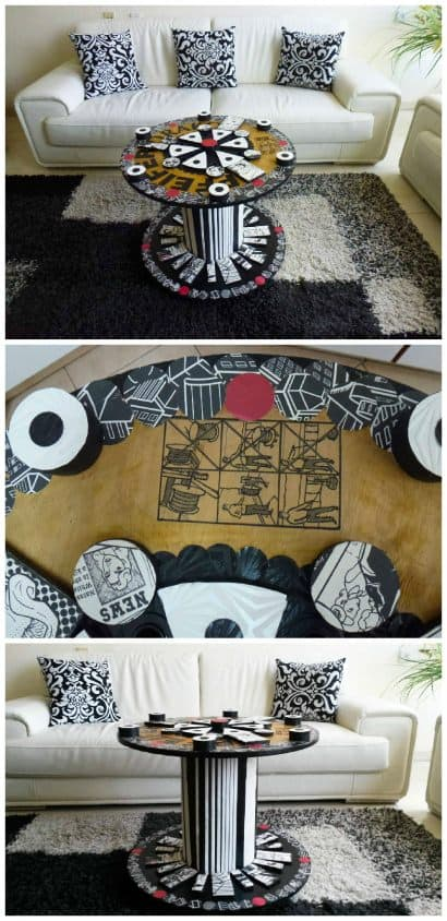 Modern Table Design From An Old Electric Wire Reel