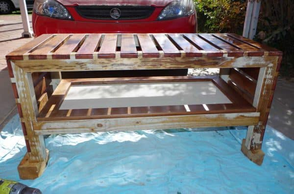 Safari Coffee Table With Stools Made From Upcycled Hardwood & Clear Wood Recycled Furniture Wood & Organic