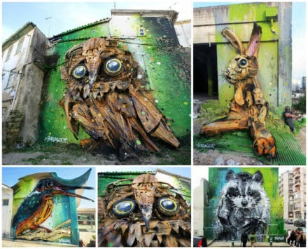 Street Art Created with Recycled Materials By Artur Bordalo