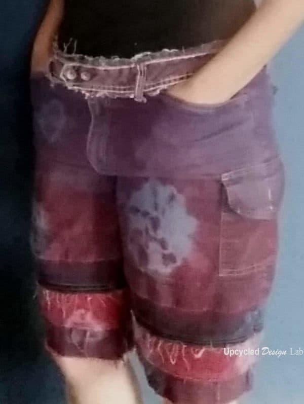 Denim Redo - Upcycled Tie Dye Denim Shorts - Short Shorts to Board Shorts Do-It-Yourself Ideas
