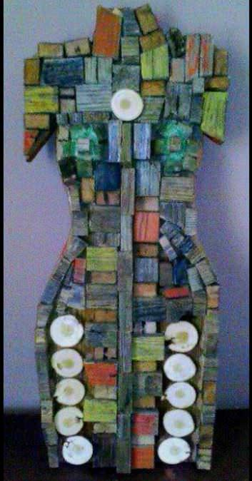 Woman: Sculpture Made Out Of Scrap Wood Recycled Art Wood & Organic