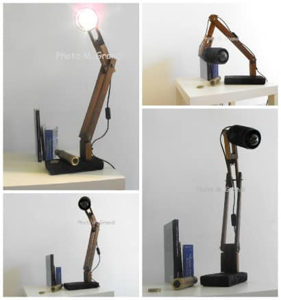 "Desk Lamp ""Industrial Recycling"" Made From Upcycled Umbrella Slats"
