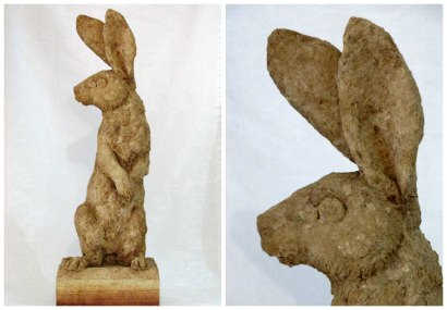 Belgian Hare Recycled Cardboard Sculpture