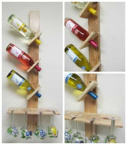 Wine Bottle And Glass Display Made Out Of Pallets