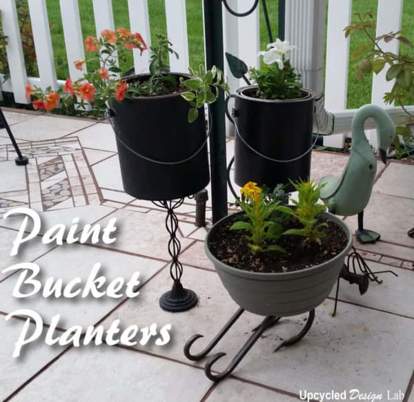 Simple Pedestal Paint Bucket Planters Do-It-Yourself Ideas