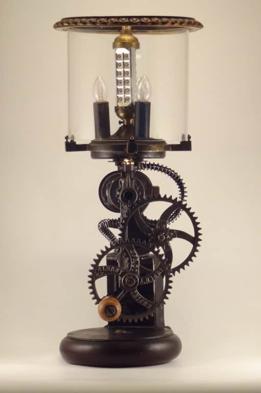 Dual Power Lamp Made Out Of 1900's Grinder Lamps & Lights