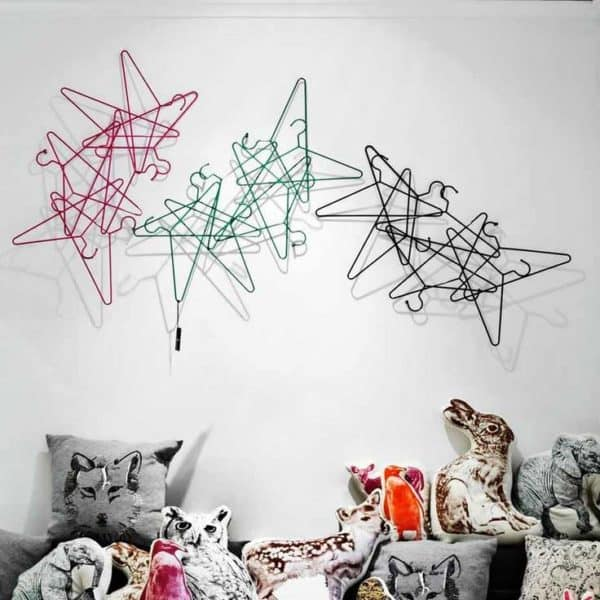 Design-art Wall Made From Repurposed Hangers Accessories Do-It-Yourself Ideas