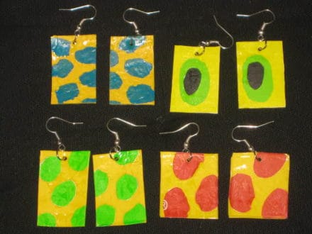 Earrings Made Of Fused Plastic Bags