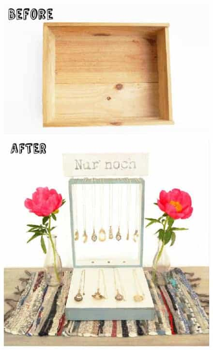 Old Wine Box Upcycled Into Jewelry Display