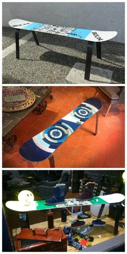 Upcycled Snowboard Benches