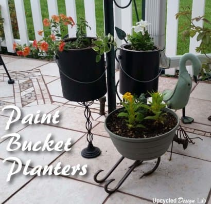 Simple Pedestal Paint Bucket Planters