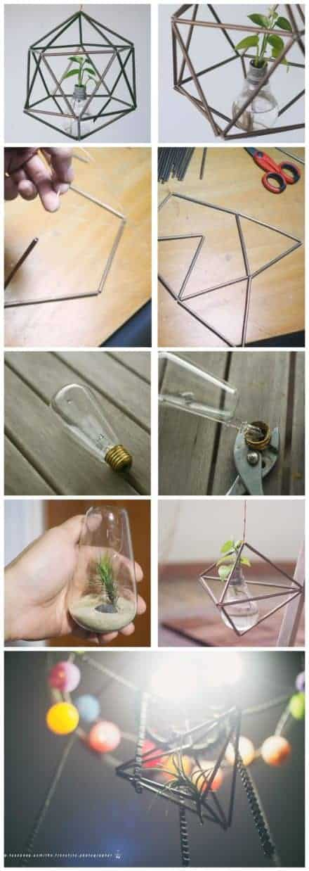 Brass Pipe Light Bulb Planter