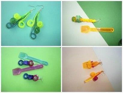 Orecchini Cucchiaini Da Gelato / Earrings Made Out Of Recycled Plastic Ice Cream Spoons