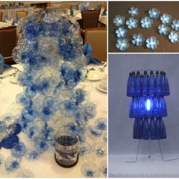 Table Centerpieces Made Out Of 1000 Recycled Water Bottles