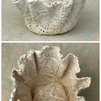 Transform An Old Jumper Into A Concrete Pot