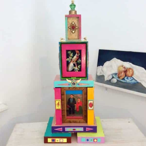 Big Cathedral Art Piece from Cigar Boxes Recycled Art