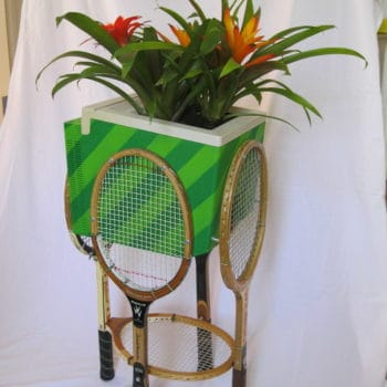 Planter From An Old Apple Computer & Wooden Tennis Rackets