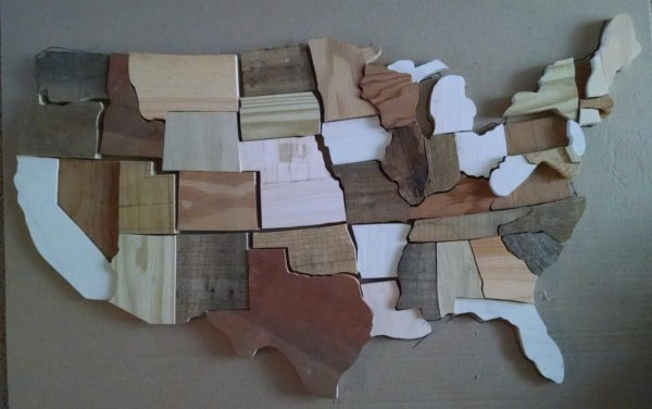 US Map Puzzle from Recycled Pallet Wood Recycled Art Wood & Organic