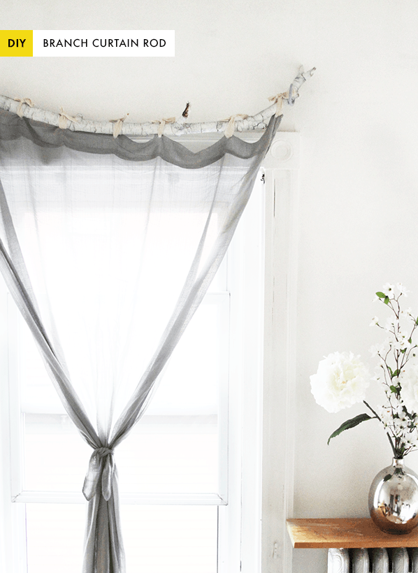 diy use a branch as a curtain rod recycled ideas