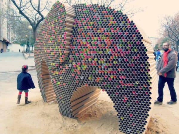 Elephant Made Out Of 6000 Recycled Cardboard Tubes Recycled Art Recycled Cardboard