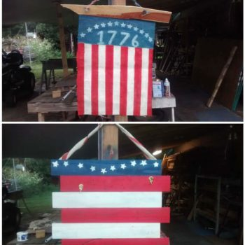 Coffee Bean Burlap Flag & Pallet Wood Flag
