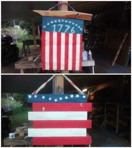 Coffee Bean Burlap Flag & Pallet Wood Flag