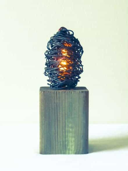 Industrial Wood & Metal Wire Lamp