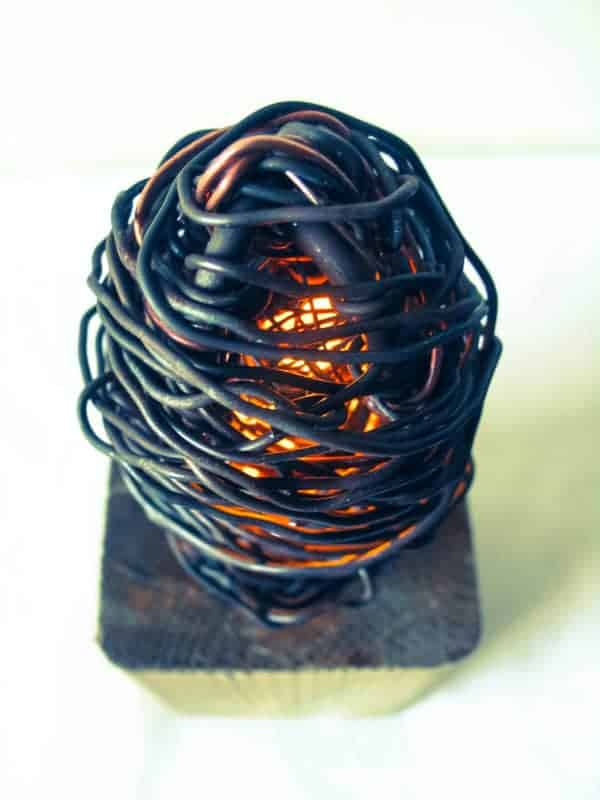 Industrial Wood & Metal Wire Lamp Lamps & Lights