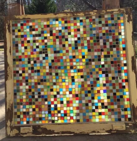 Recycled Old Window With Stained Glass Art