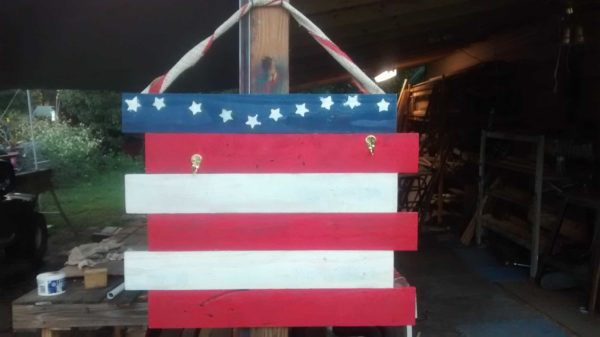 Coffee Bean Burlap Flag & Pallet Wood Flag Recycled Art Recycled Pallets