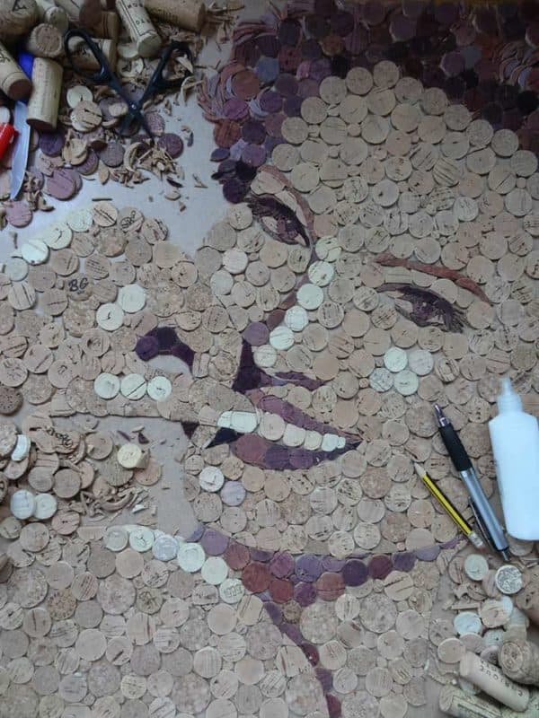Portrait Made Out Of Reused Wine Corks Recycled Cork