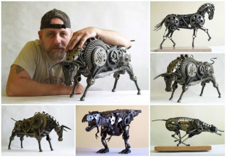 Animal Sculptures Made Out of Scrap Metal by Tomas Vitanovsky